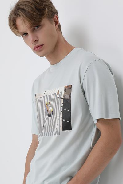 코튼 레귤러핏 프린팅 티셔츠