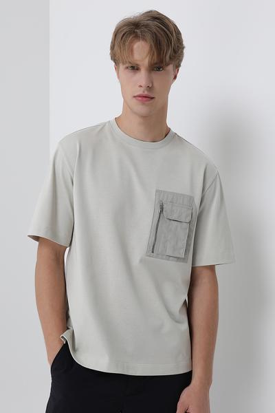 [남성] 코튼 포켓 라운드넥 반소매 티셔츠