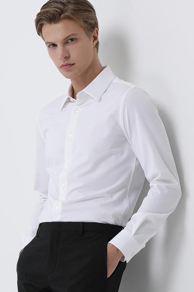 [남성] 면 혼방 레귤러핏 솔리드 셔츠