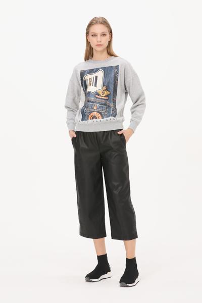 [여성] 면혼방 레귤러핏 그래픽 맨투맨 티셔츠