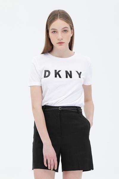 면혼방 스팽글 로고 반소매 티셔츠