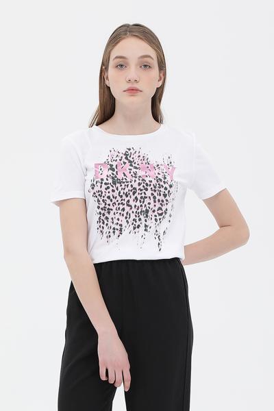 레오파드 프린팅 반소매 티셔츠