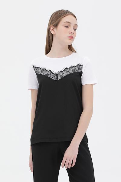 레이스 탑 레이어드 반소매 티셔츠