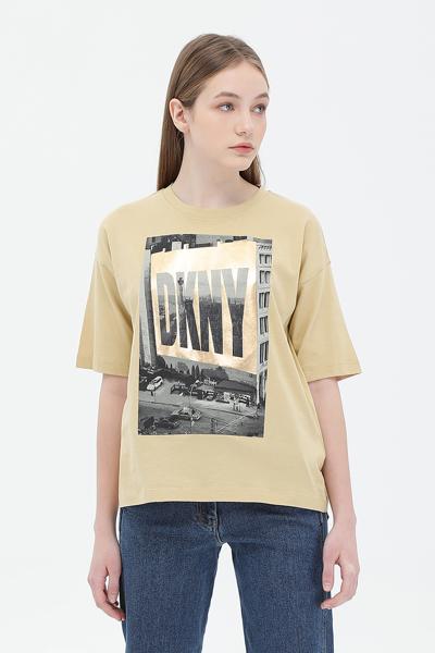 면혼방 박스 프린팅 반소매 티셔츠