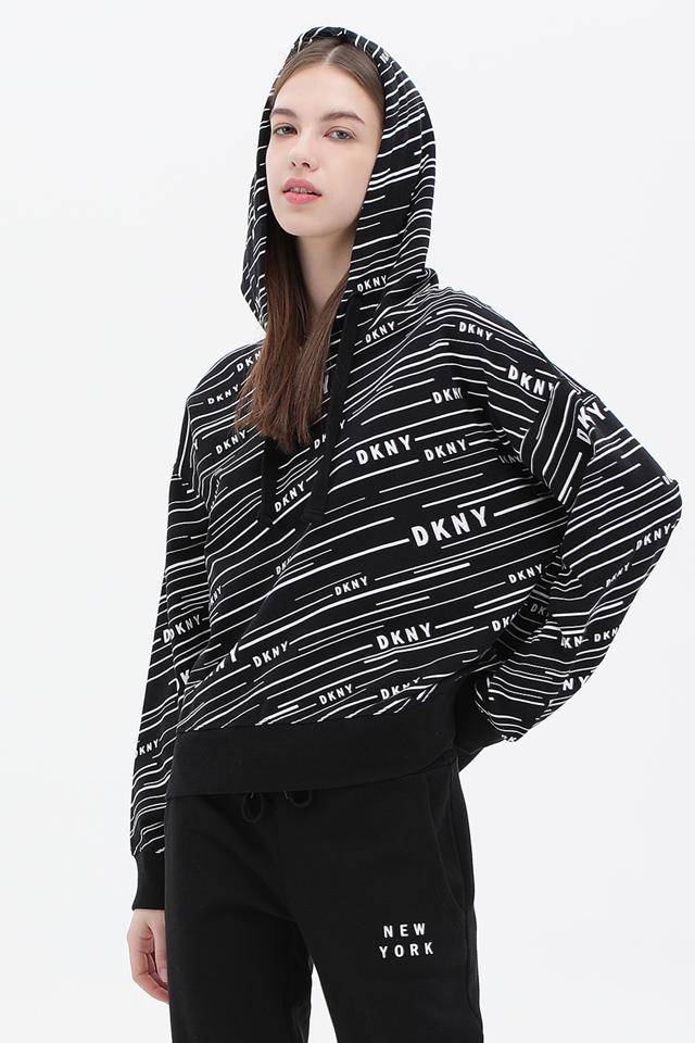 [여성] 면혼방 스트라이프 로고 패턴 후드 스웨트