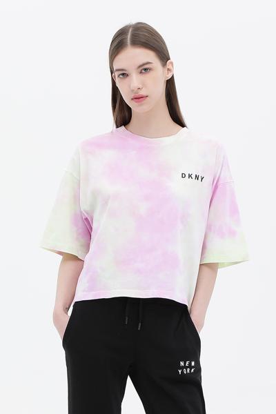 [여성] 면 타이다이 반소매 크롭 티셔츠