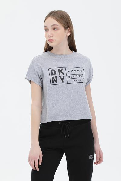 면 박스 로고 반소매 크롭 티셔츠