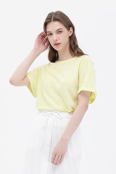린넨혼방 루즈핏 반소매 크롭 티셔츠