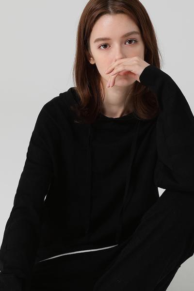 [여성] 레터링 패턴 언발란스 후드 탑