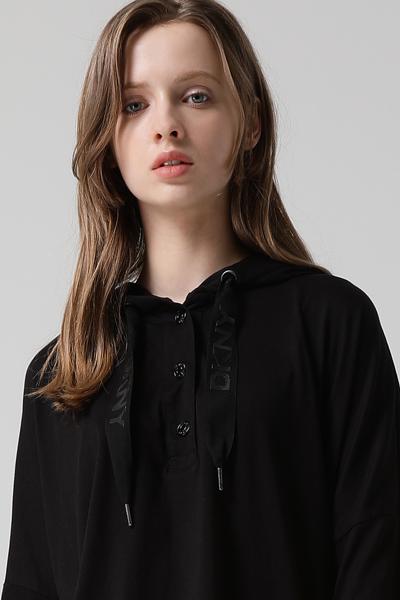 [여성] 면 혼방 박시핏 버튼 후드 티셔츠