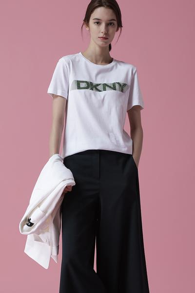 [여성] 면 혼방 로고 반소매 티셔츠