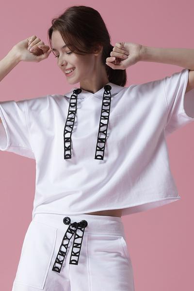 [여성] 면 혼방 오버핏 로고 레이스 크롭 후드 스웻 티셔츠