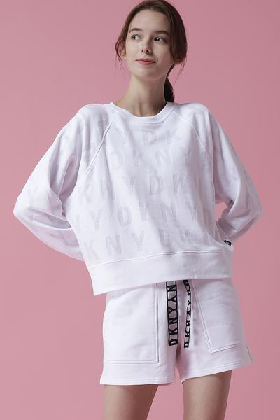 [여성] 면 혼방 박시핏 로고 번 아웃 스웻 티셔츠