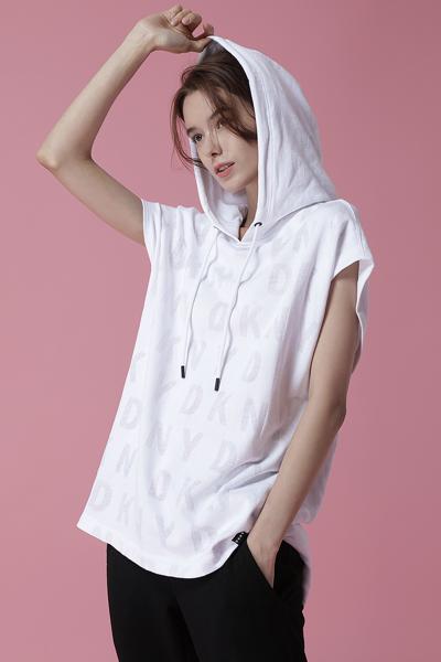 [여성] 면 혼방 박시핏 로고 번 아웃 롱 후드 스웻 티셔츠