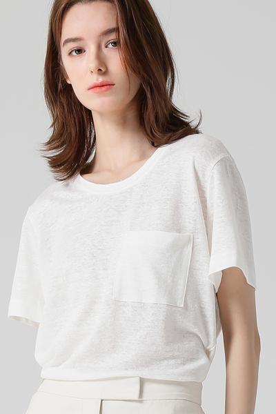 [여성] 린넨 져지 포켓 반소매 티셔츠