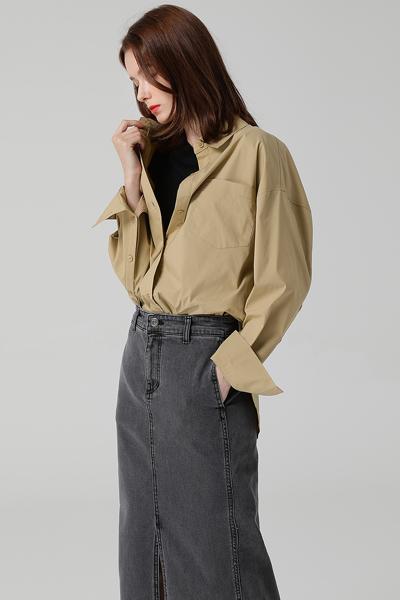 [여성] 면 혼방 루즈핏 베이직 셔츠