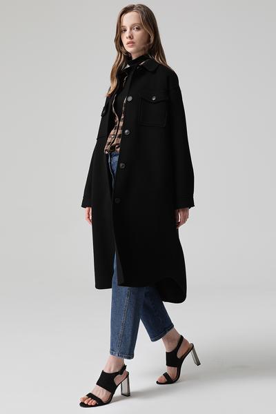 [여성] 울혼방 베이직 셔츠핏 포켓 코트