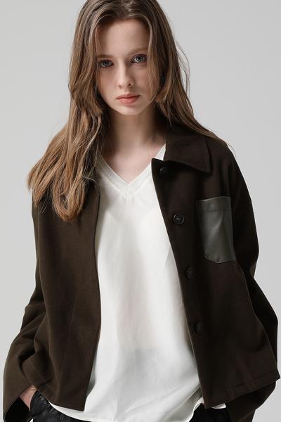 [여성] 면 혼방 박시핏 포켓 자켓