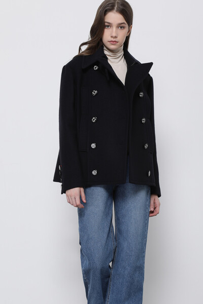 울혼방 오버핏 더블 포켓 피 코트