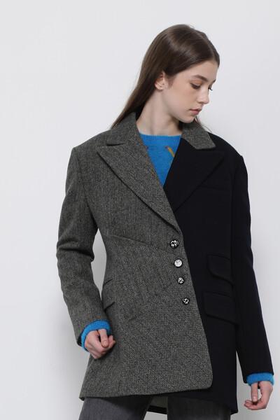 울혼방 스탠다드핏 콘트라스트 턱 자켓
