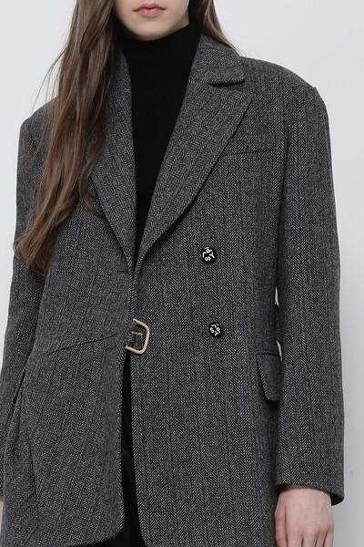 울혼방 루즈핏 턱 자켓