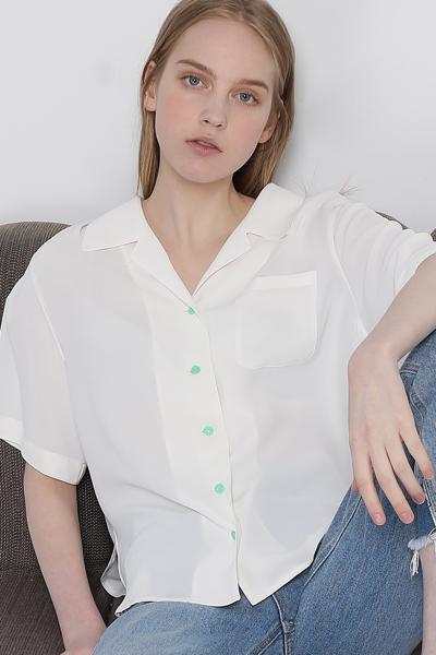 루즈핏 백 타이드 반소매 셔츠