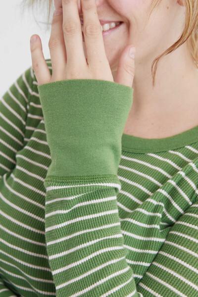 [여성] 면혼방 스트라이프 라운드넥 티셔츠