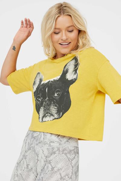 [여성] 코튼 프린트 반소매 크롭 티셔츠