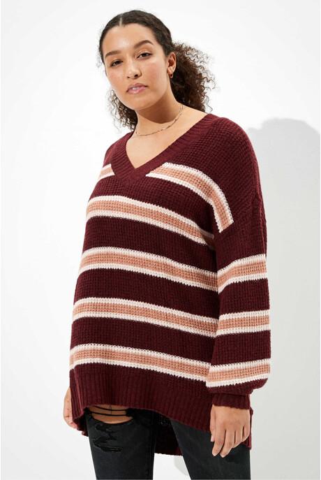 [여성] 오버핏 스트라이프 스웨터