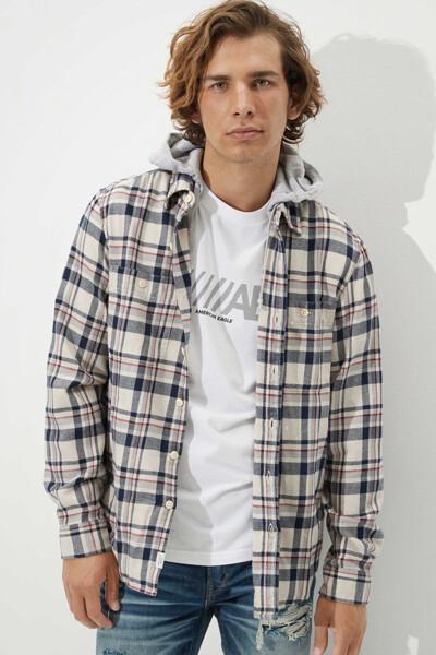 [남성] 플래드 포켓 플란넬 후드 셔츠