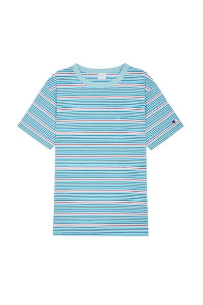 [ASIA] 컬러 스트라이프 반팔 티셔츠 (PALE BLUE) CKTS0E238B4