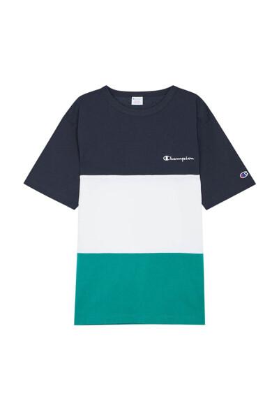[ASIA] 컬러 블록 반팔 티셔츠 (LIGHT NAVY) CKTS0E324N1