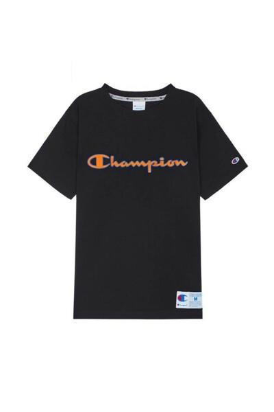 [ASIA] 아웃라벨 Champion 로고 반팔 티셔츠 (BLACK) CKTS0E223BK