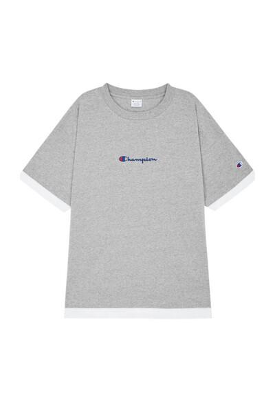 [ASIA] 레이어드 Small로고 반팔 티셔츠 (LIGHT GREY) CKTS0E328G1