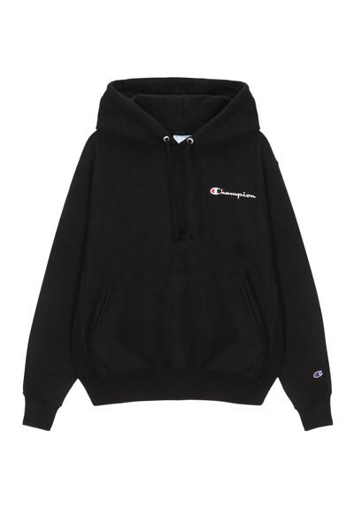 [US] Small Champion 로고 Reverse Weave® 후드 티셔츠 (BLACK) CKTS0E602BK
