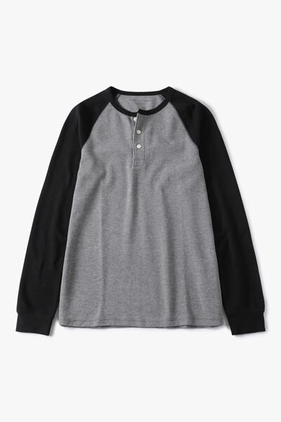 [남성] 면혼방 헨리넥 긴소매 티셔츠