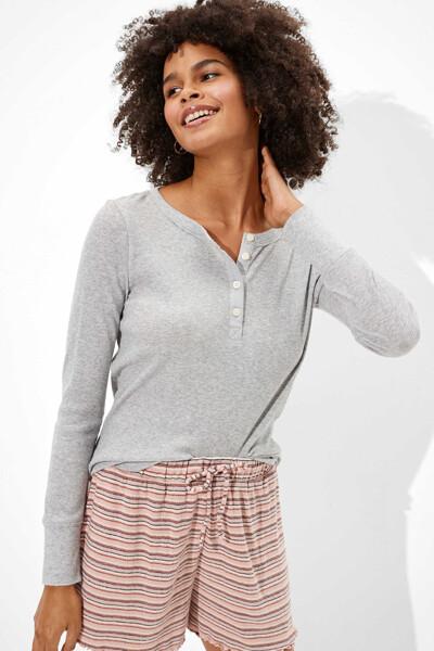 [여성] 면혼방 라운지 헨리넥 티셔츠