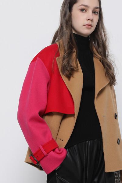 울혼방 더블 박스핏 배색 코트