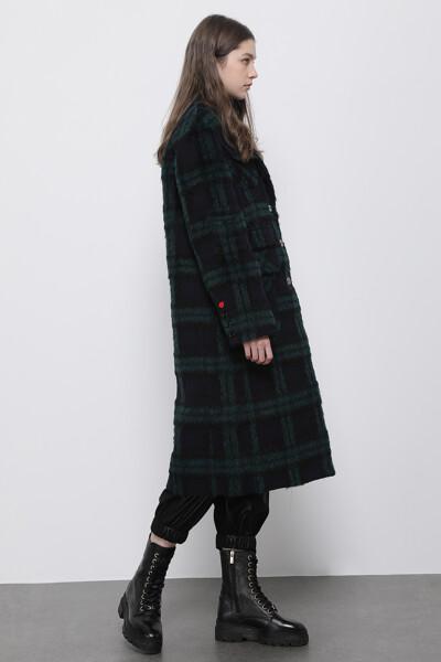 알파카혼방 플래드 포켓  코트
