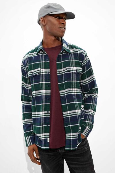 [남성] 코튼 케리건 플래드 긴소매 셔츠