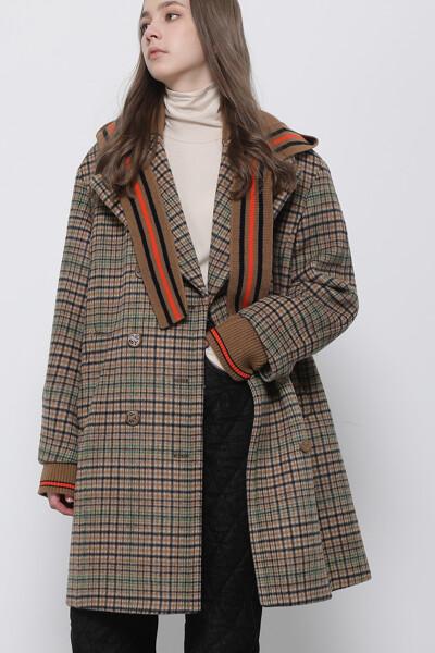 울혼방 체크  코트