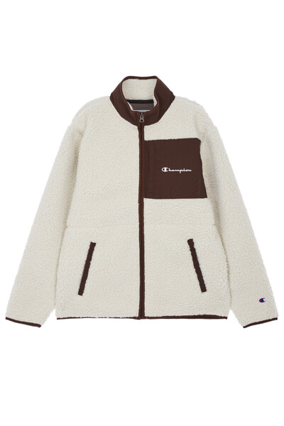 [ASIA] Champion로고 배색 Fleece 자켓 (OFF WHITE) CKJA0F821OW