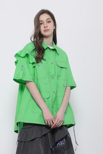 프릴 하프 슬리브 셔츠