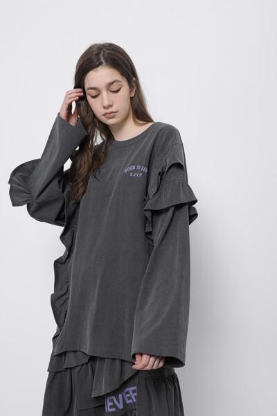 러플 롱 슬리브 티셔츠