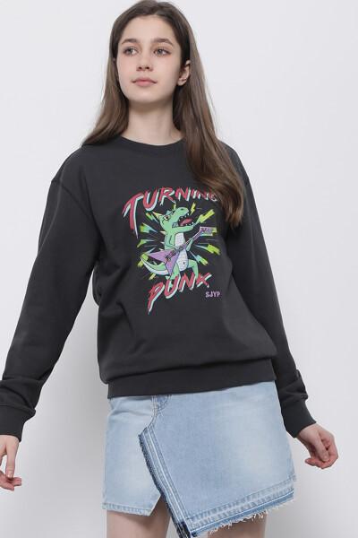 펑크 디노 크루넥 스웨트셔츠