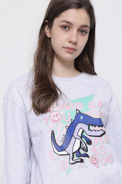 디노 레터링 그래픽 스웨트셔츠