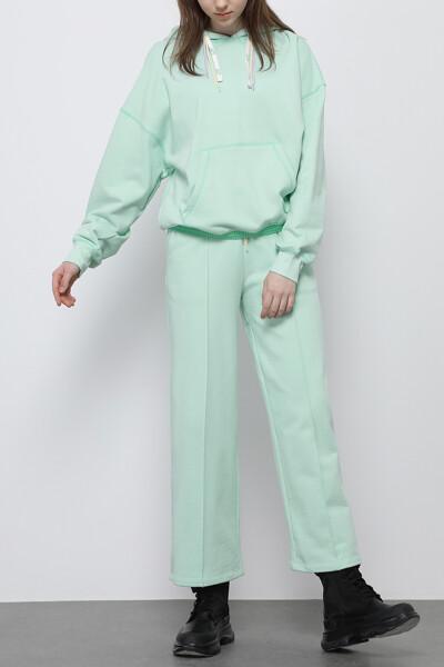 와이드 컬러 스티치 스웨트팬츠