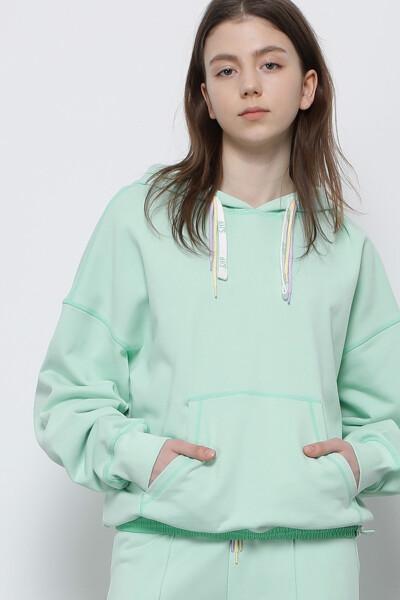 컬러 스티치 후드 티셔츠