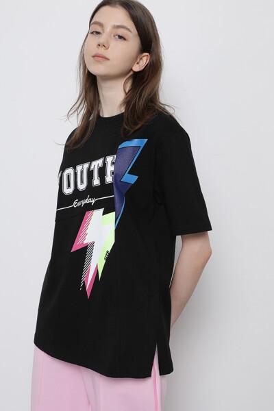 오버핏 믹스 그래픽 티셔츠