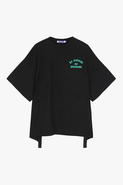 백 드로우스트링 크롭 티셔츠